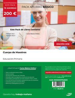 PACK AHORRO BÁSICO. Cuerpo de Maestros. Educación Primaria. (Incluye Temario I y II, + Curso BÁSICO Online)