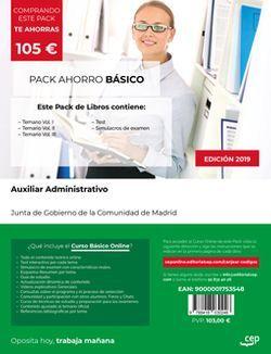 PACK AHORRO BÁSICO. Cuerpo de Auxiliares de Administración General. Comunidad de Madrid (Incluye Temario Vol. I, II y III, Test y Simulacros de Examen + Curso BÁSICO Online)
