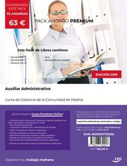 PACK AHORRO PREMIUM. Cuerpo de Auxiliares de Administración General. Comunidad de Madrid (Incluye Temario Vol. I, II y III, Test y Simulacros de Examen + Curso PREMIUM Online)
