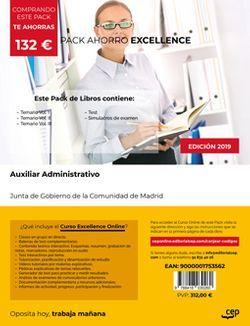 PACK AHORRO EXCELLENCE. Cuerpo de Auxiliares de Administración General. Comunidad de Madrid (Incluye Temario Vol. I, II y III, Test y Simulacros de Examen + Curso EXCELLENCE Online)
