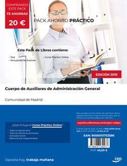 PACK AHORRO PRÁCTICO. Cuerpo de Auxiliares de Administración General. Comunidad de Madrid (Incluye Test y Simulacros de Examen + Curso PRÁCTICO Online)