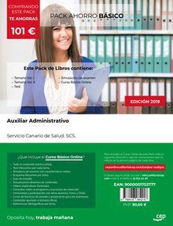 PACK AHORRO BÁSICO. Auxiliar Administrativo. Servicio Canario de Salud. SCS (Incluye Temario Vol. I y II, Test y Simulacros de Examen + Curso BÁSICO Online)