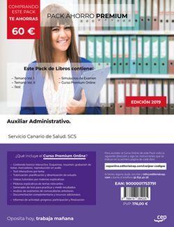 PACK AHORRO PREMIUM. Auxiliar Administrativo. Servicio Canario de Salud. SCS (Incluye Temario Vol. I y II, Test y Simulacros de Examen + Curso PREMIUM Online)