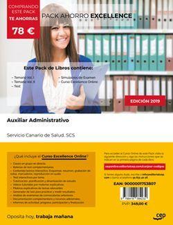 PACK AHORRO EXCELLENCE. Auxiliar Administrativo. Servicio Canario de Salud. SCS (Incluye Temario Vol. I y II, Test y Simulacros de Examen + Curso EXCELLENCE Online)