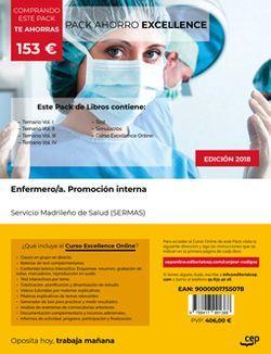PACK AHORRO EXCELLENCE. Enfermero/a. Promoción interna. Servicio Madrileño de Salud (SERMAS). (Incluye Temarios Vol. I, II, III y IV, Test y Simulacros + Curso Excellence Online)