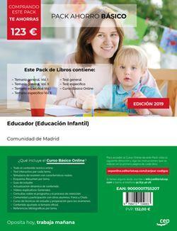 PACK AHORRO BÁSICO, Educador (Educación Infantil). Comunidad de Madrid (Incluye Temario general Vol. I y II, Temario específico Vol.I, II y III,  Test general y Test Específico + Curso BÁSICO Online)