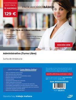 PACK AHORRO BÁSICO. Administrativo (Turno Libre). Junta de Andalucía (Incluye Vol. I, II y III, Test y Simulacros + Curso BÁSICO Online valorado en 99 euros)