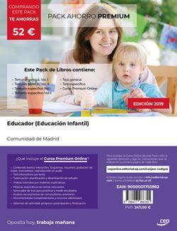 PACK AHORRO PREMIUM, Educador (Educación Infantil). Comunidad de Madrid (Incluye Temario general Vol. I y II, Temario específico Vol.I, II y III, Test general y Test Específico + Curso PREMIUM Online 6 Meses)