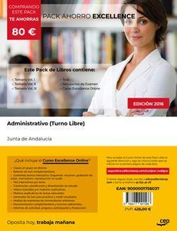 PACK AHORRO EXCELLENCE. Administrativo (Turno Libre). Junta de Andalucía (Incluye Vol. I, II y III, Test y Simulacros + Curso EXCELLENCE Online 9 meses)