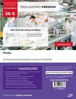 PACK AHORRO PREMIUM. Pinche. Servicio de Salud de Castilla-La Mancha. SESCAM. (Incluye Temario Vol.I y II, Test y Simulacros de Examen + Curso PREMIUM valorado en 6 meses).
