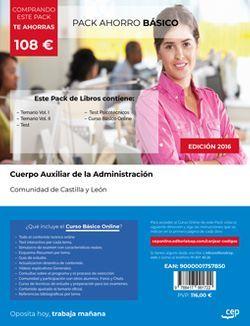 PACK AHORRO BÁSICO. Cuerpo Auxiliar de la Administración de la Comunidad de Castilla y León. (Incluye Temario Vol I y II, Test y Psicotécnicos + Curso BÁSICO Online)