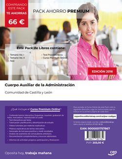 PACK AHORRO PREMIUM. Cuerpo Auxiliar de la Administración de la Comunidad de Castilla y León. (Incluye Temario Vol I y II, Test y Psicotécnicos + Curso PREMIUM Online)