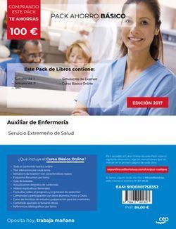 PACK AHORRO BÁSICO. Auxiliar de Enfermería. Servicio Extremeño de Salud. (Incluye Temario Vol. I y II, Test y Simulacros de examen + Curso BÁSICO Online valorado en 79 euros)