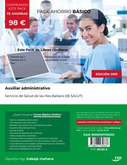 PACK AHORRO BÁSICO. Auxiliar administrativo. Servicio de Salud de las Illes Balears (IB-SALUT). (Incluye Temario Vol.I, Vol.II, Test y Simulacros de examen + Curso BÁSICO Online)