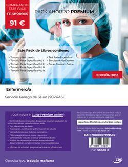 PACK AHORRO PREMIUM. Enfermero/a del Servicio Gallego de Salud (SERGAS). (Incluye Temario y Test Común, Temarios Específicos Vol. I.,II., III. y IV, Test Específicos y Simulacros de examen + Curso Premium 6 meses).