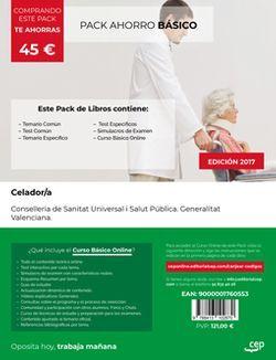 PACK AHORRO BÁSICO. Celador. Conselleria de Sanitat Universal i Salut Pública. Generalitat Valenciana. (Incluye Temario y Test Común, Temario específico, Test Específico y  Simulacros de Examen + Curso BÁSICO Online)