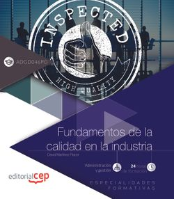 Libro digital. Fundamentos de la calidad en la industria (ADGD046PO). Especialidades formativas